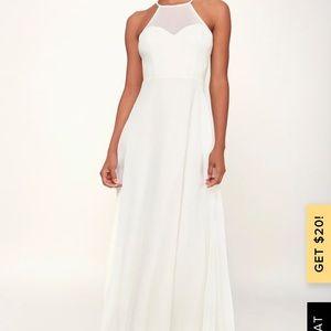 NWOT NIGHT OF ROMANCE WHITE SLEEVELESS MAXI DRESS